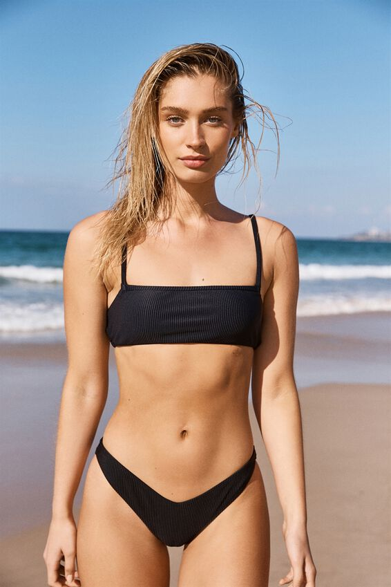 High Side Brazilian Bikini Bottom, BLACK RIB