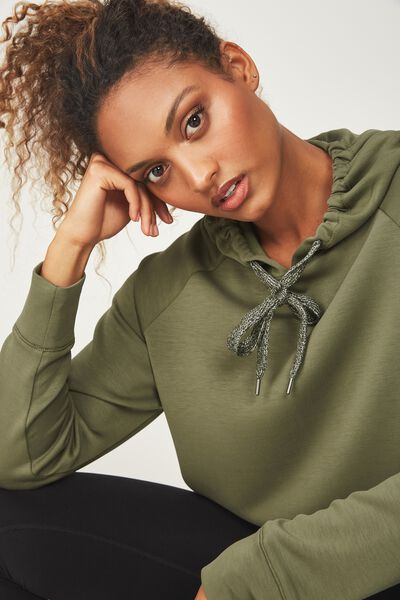 Chalky Long Sleeve Top, OLIVE BRANCH