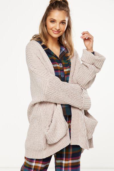 Knit Cardigan, BAKED STONE
