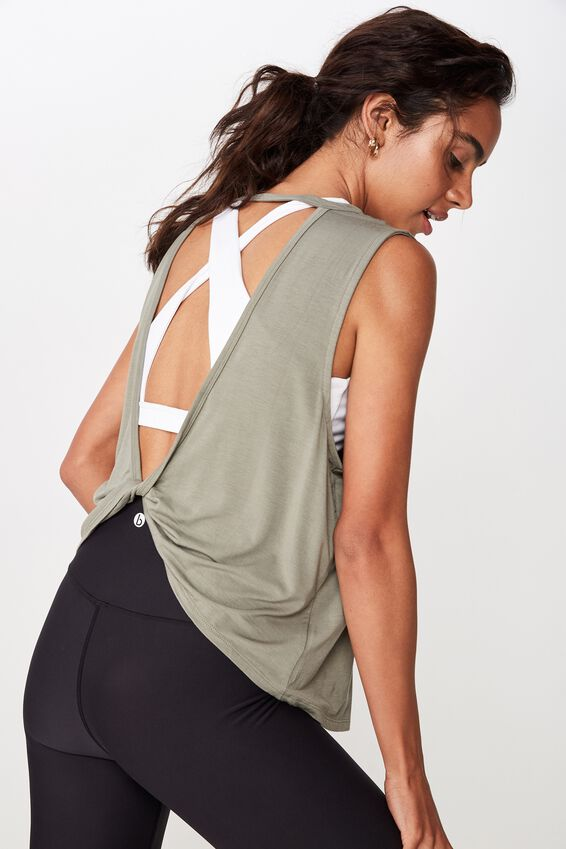 Open Twist Back Tank Top, STEELY SHADOW