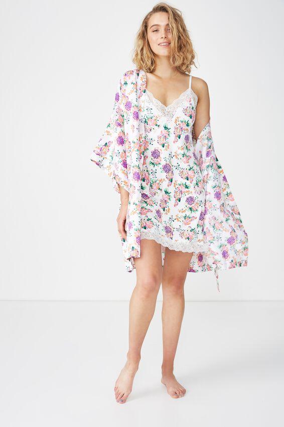 Kimono Gown, PURPLE BEAUTIFUL BLOOM/WHITE