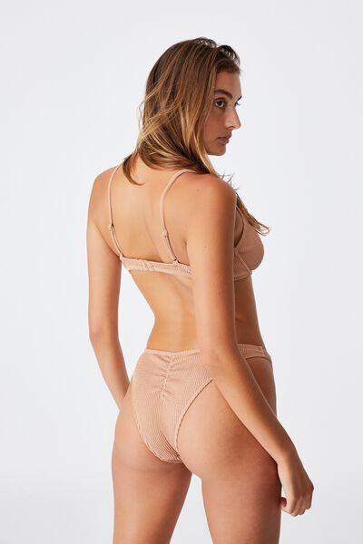Gathered Bum Brazilian Bikini Bottom Crinkle, LION BROWN CRINKLE