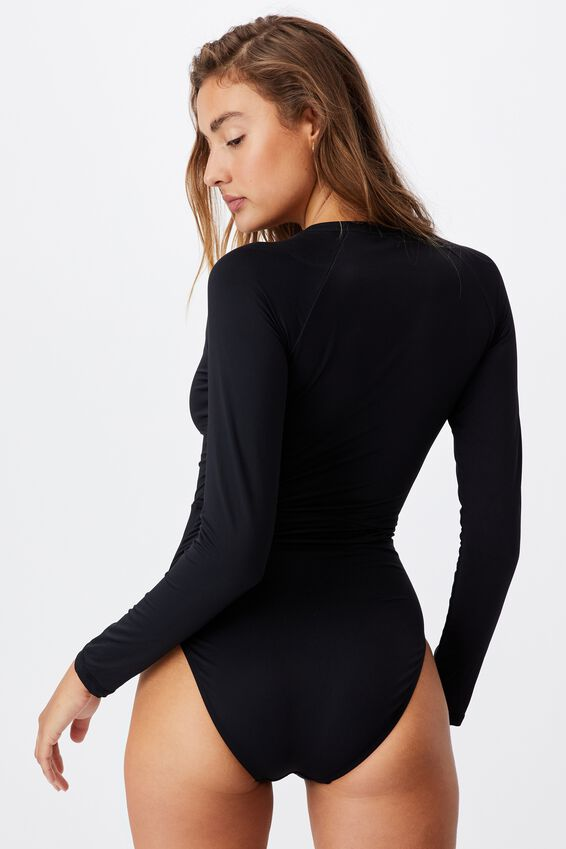Zip Front Long Sleeve One Piece Full, BLACK