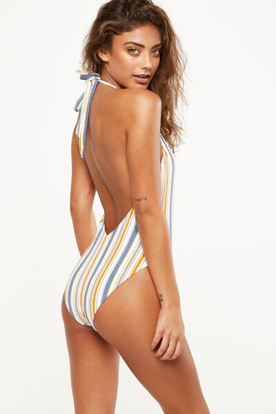 Deep V Halter One Piece Cheeky, HORIZON STRIPE