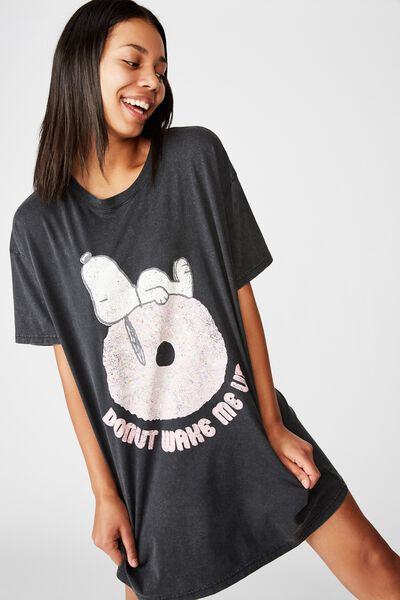 90 S Tshirt Nightie, LCN PEA SNOOPY/WASHED BLACK