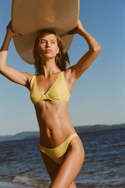 Half Wire Bralette Bikini Top, LEMON TEXTURE