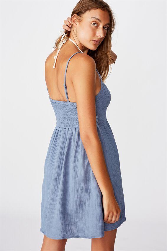 Shirred Beach Dress, MARINA BLUE
