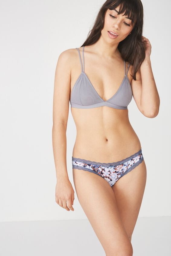 Smooth Lace Trim Bikini Brief, MIDNIGHT MINI MISTED BLOOM