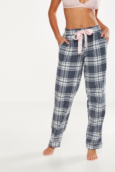Non Cuffed Flannel Pant, SMOKEY CHECK