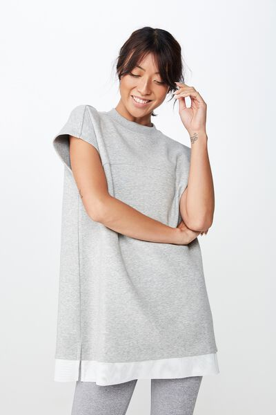 Active Tshirt Dress, GREY MARLE