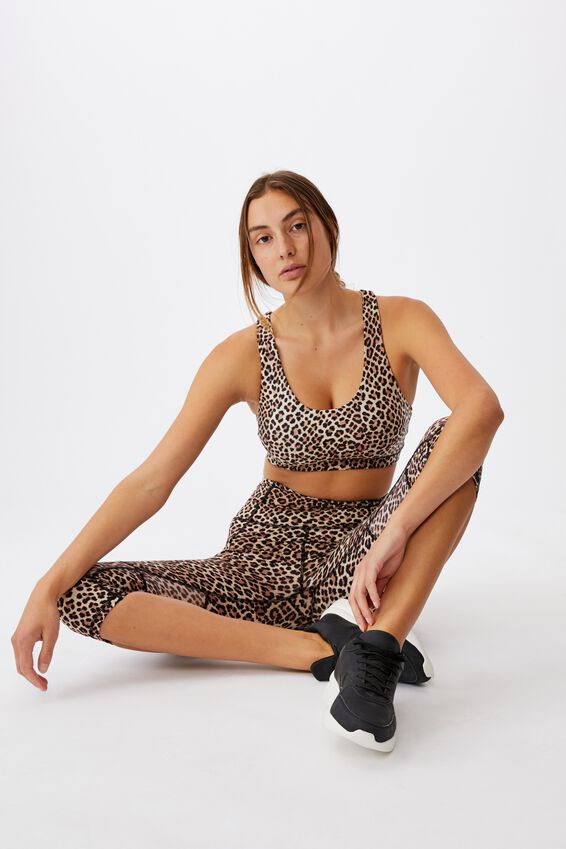 Strappy Sports Crop, LEOPARD