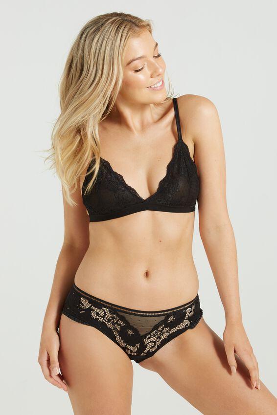 The Body V Lace Bralette, BLACK