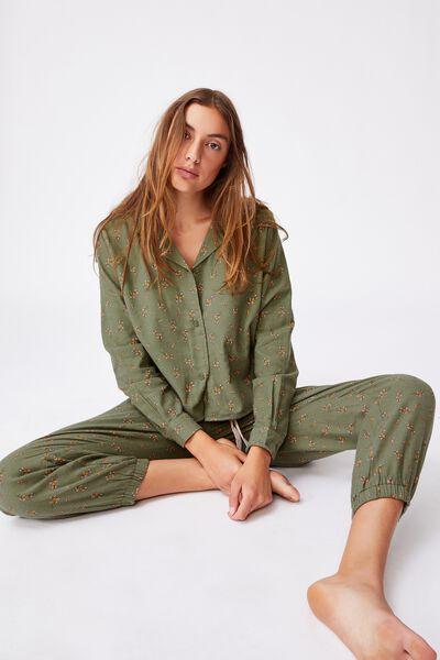 Flannel Sleep Shirt, SPRIGGY FLORAL COOL AVOCADO