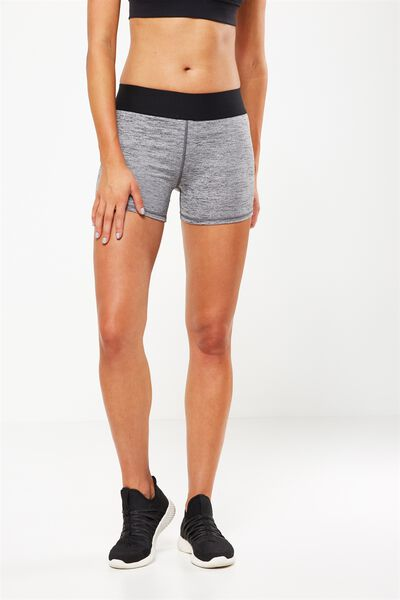 Active Gym Short, SALT & PEPPER/ BLACK