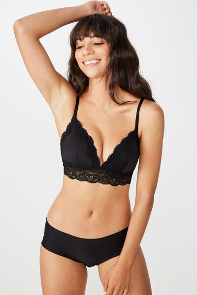 Smooth Lace Longline Wirefree Bra, BLACK