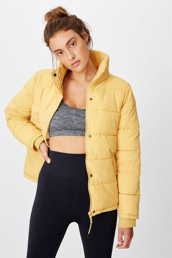 The Mother Puffer Jacket, HONEY GOLD
