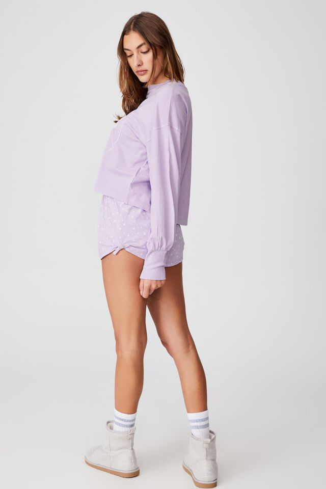 Jersey Placket Bed Short, TWINKLING STAR/LILAC DREAM