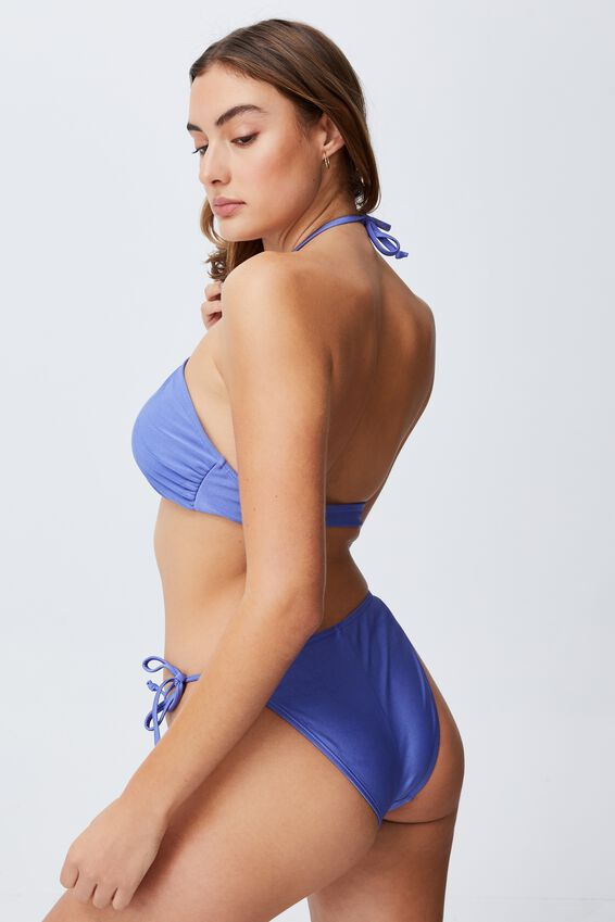 Tie Side Hipster Cheeky Bikini Bottom, PURPLE IRIS SHIMMER