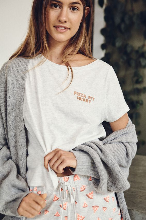 Jersey Bed T-Shirt, PIZZA MY HEART/GREY MARLE