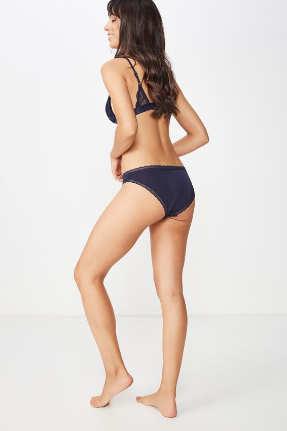 Smooth Lace Trim Bikini Brief, MIDNIGHT