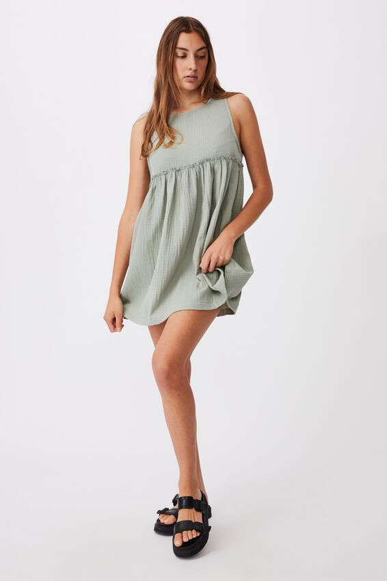Drop Armhole Beach Dress, KHAKI
