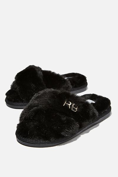 Personalised Duo Crossover Slipper, BLACK