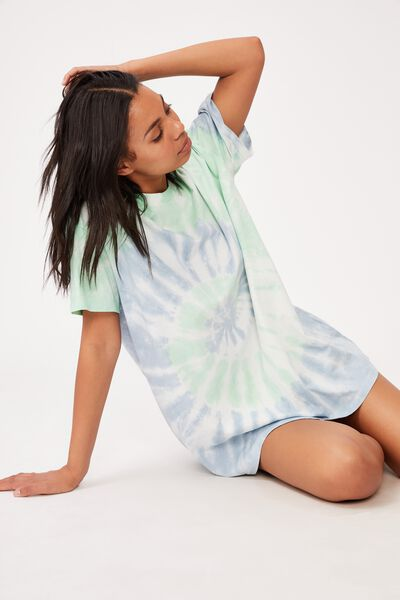 90 S Tshirt Nightie, BLUE WASH TIE-DYE