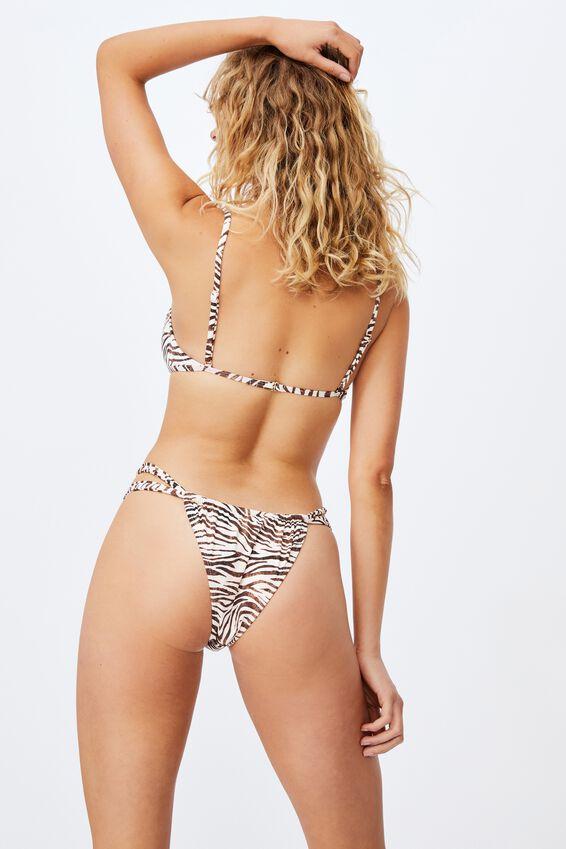 Gathered Bralette Bikini Top Mm, MOTLED ZEBRA