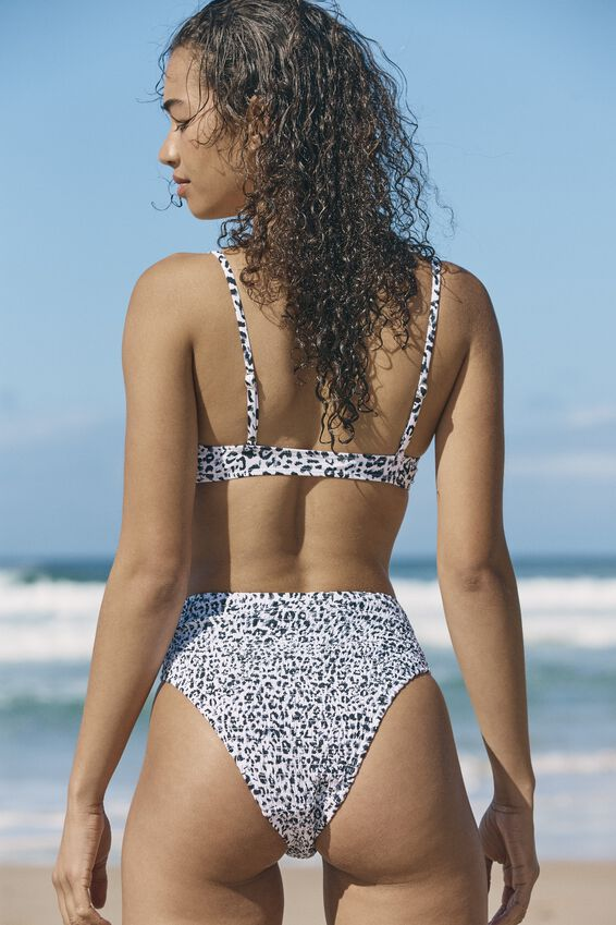 Highwaisted Cheeky Bikini Bottom, MONO LEOPARD SHIRRED