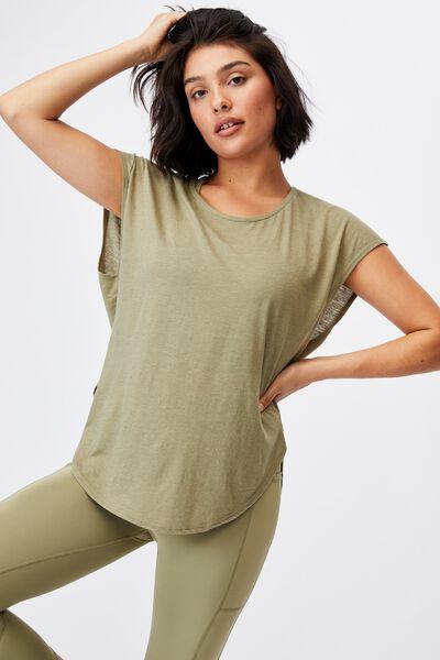 Active Scoop Hem Tshirt, OREGANO