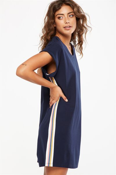 Match Back Sleep Nightie, NAVY BABY MARLE/STRIPE