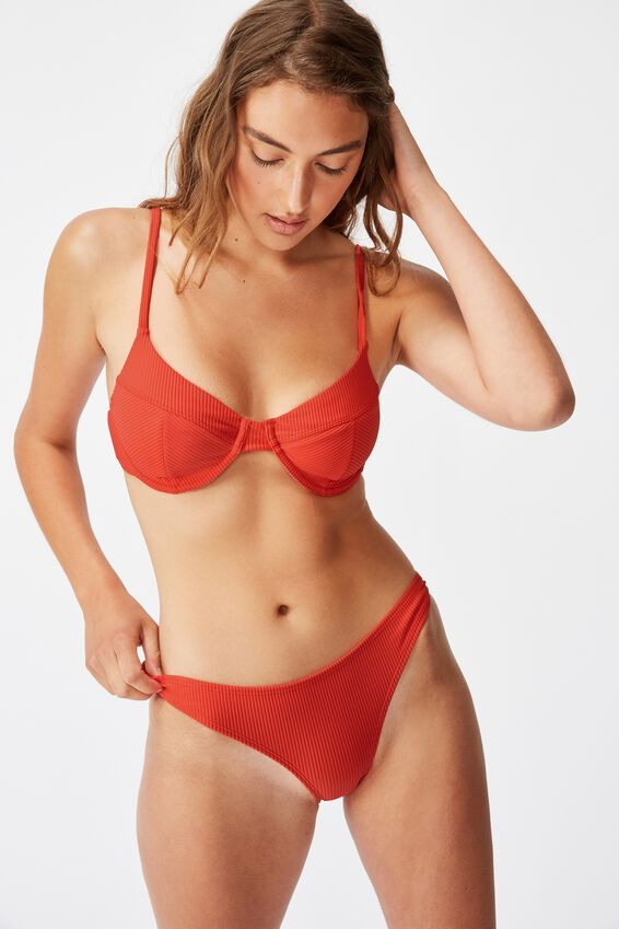 Unlined Underwire Bikini Top, SPICY RIB RED