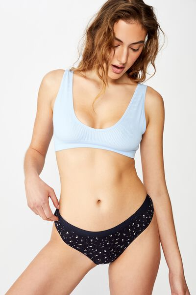 Cotton Rib Brasiliano Brief, TOSSED FLOWER DITSY NAVY