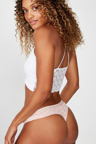 Cotton Rib Comfy G-String Brief, SIMPLE DAISY