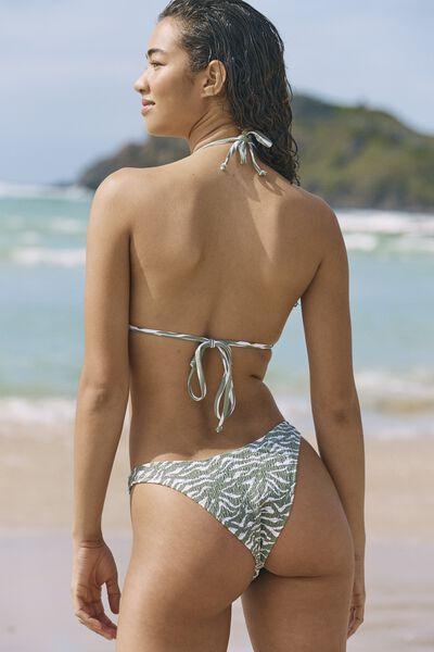 Refined High Side Brazilian Bikini Bottom, KHAKI ZEBRA SHIRRED