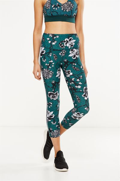 Highwaisted Yoga 7/8 Tight, IMPERIAL FLORAL HUNTER GREEN