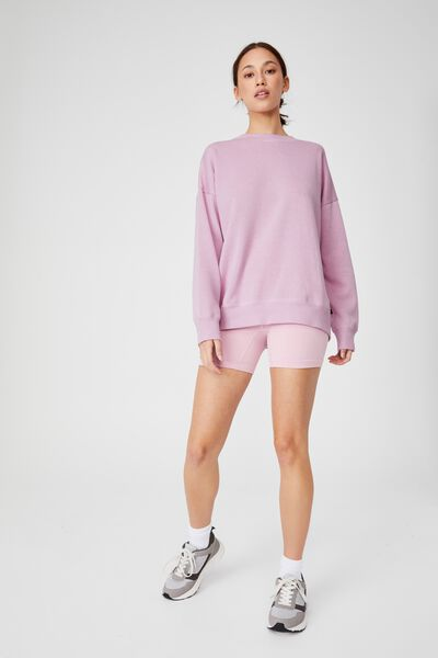 Lifestyle Long Sleeve Crew Top, SOFT VIOLET MARLE