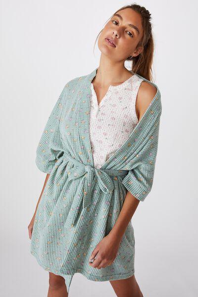 Kimono Waffle Gown, DITZY GARDEN/WASHED ALOE