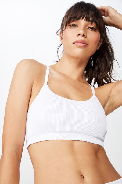 Refined Racer Sports Crop, WHITE