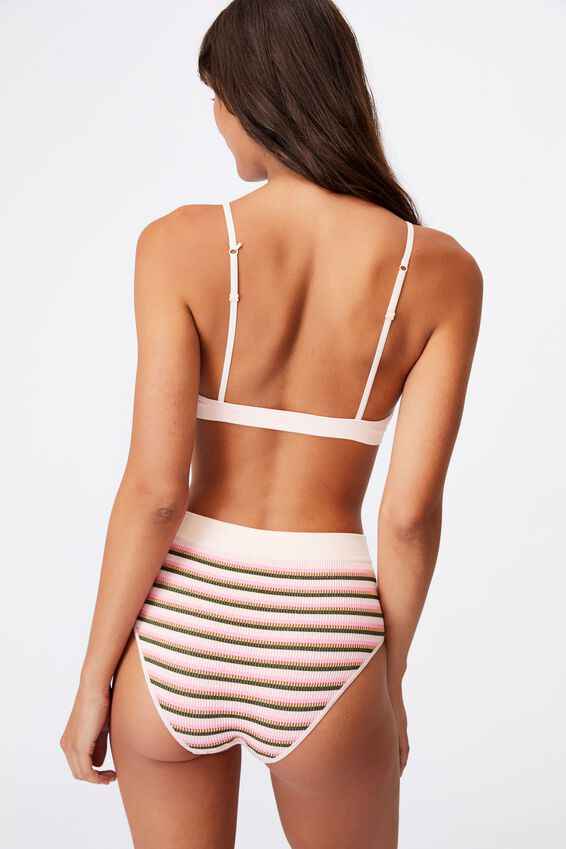 Seamfree Triangle Bralette With Cups, VINTAGE STRIPE