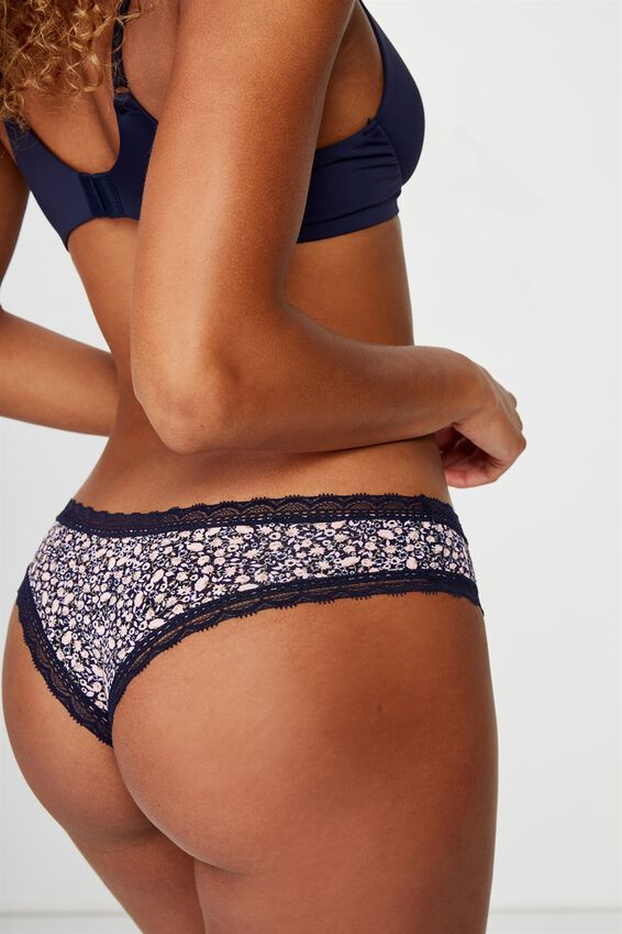 Smooth Lace Trim Brasiliano Brief, ROSE ALL OVER DITSY