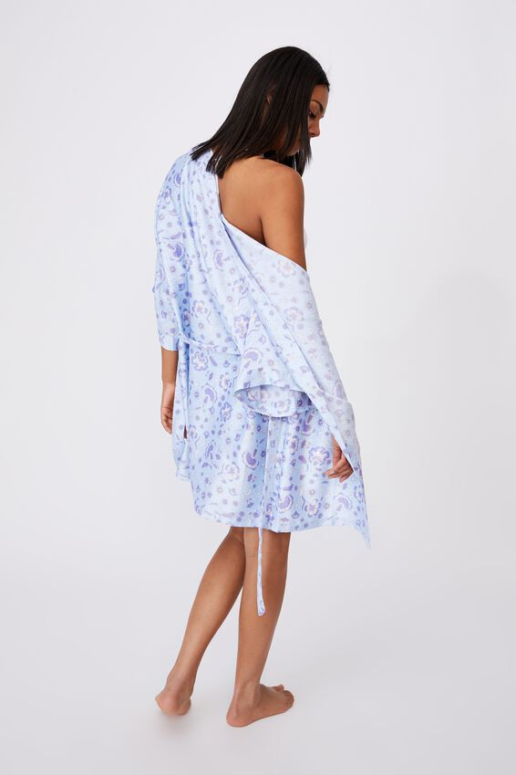 Satin Robe, BATIK SPOT FLORAL BLUE BIRD