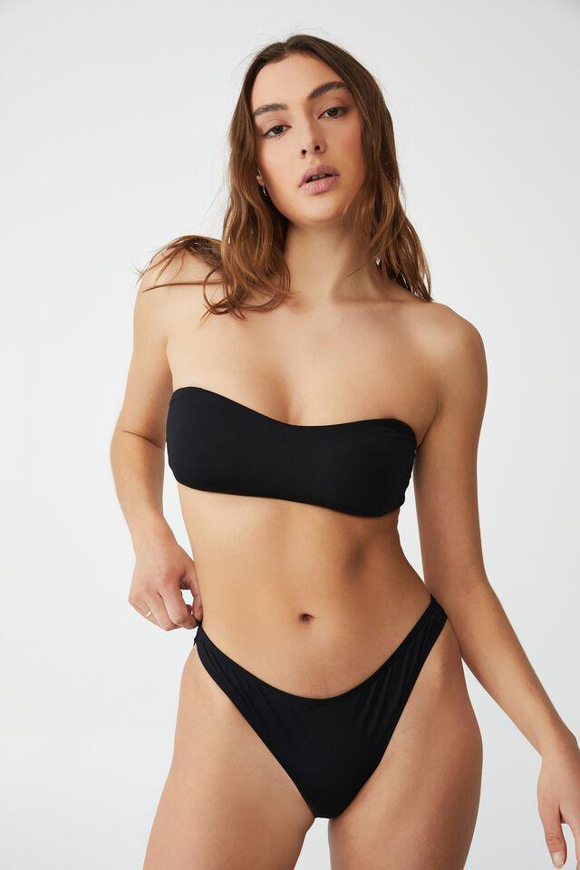 Sweetheart Crop Bikini Top, BLACK