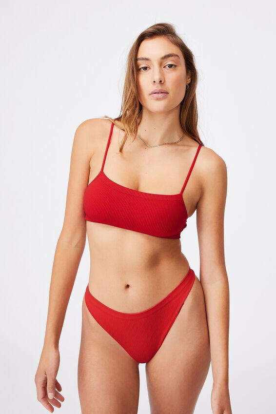 Seamfree Straight Neck Crop With Cups, TRUE RED