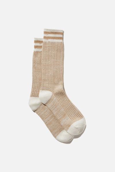 Knit Crew Sock, ALMOND BUTTER MARLE