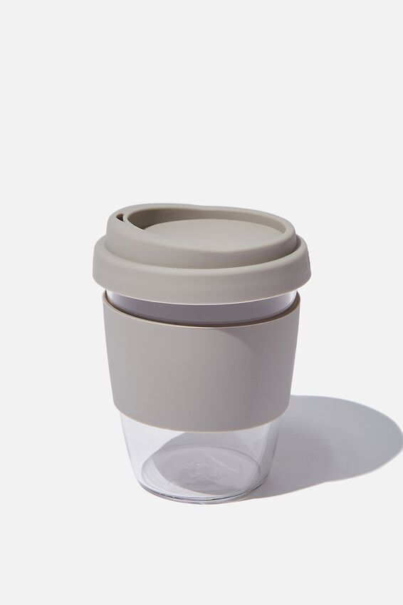 Reusable Glass Coffee Cup 380Ml, GREY