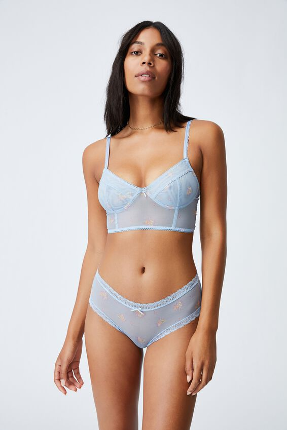 We Just Mesh Boyleg Brief, FLORAL LACE BLUE BIRD