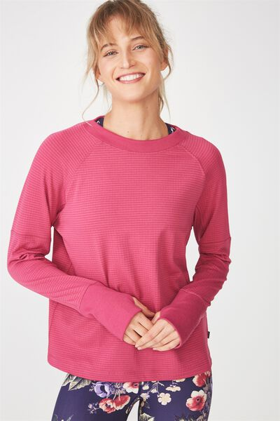 Waffle Crew Neck Long Sleeve Top, VERY BERRY