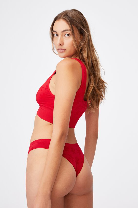 Seamfree Rib Brasiliano Brief, TRUE RED DAISY JACQUARD