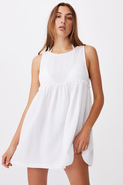 Drop Armhole Beach Dress, WHITE